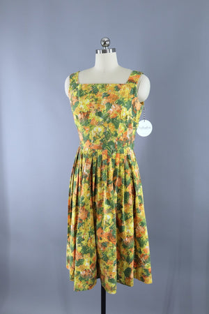 Vintage Cotton Sundress / Yellow & Green Print Dress ThisBlueBird