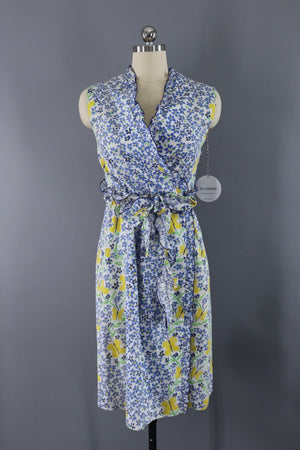 Vintage Cotton Wrap Dress / Periwinkle Butterflies-ThisBlueBird - Modern Vintage