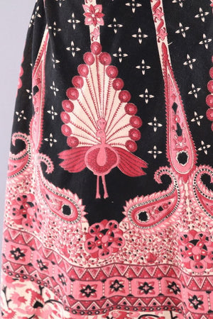 Vintage Cotton Wrap Skirt / Pink Peacock Print-ThisBlueBird - Modern Vintage