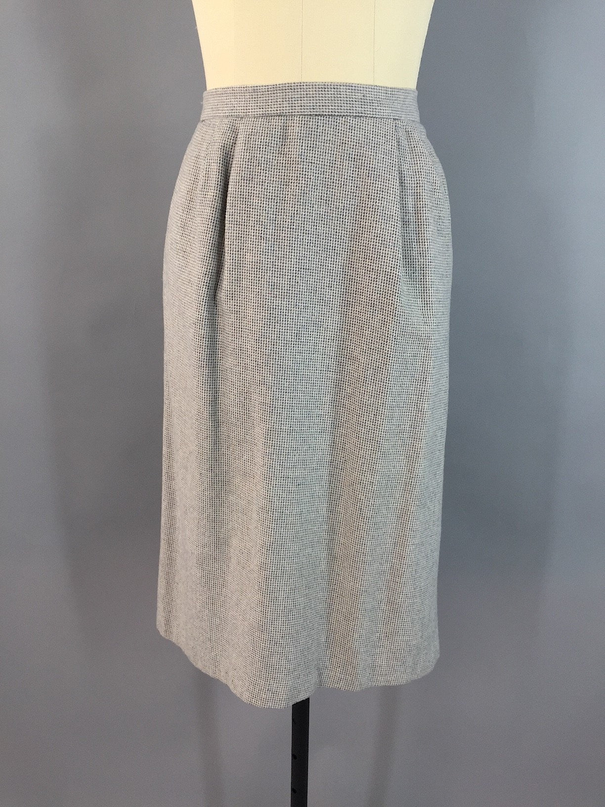 Vintage Cream Beige and Blue Gray Tweed Wool Pencil Skirt Bottoms ThisBlueBird - Sale