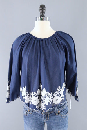Vintage Cropped Embroidered Blouse-ThisBlueBird - Modern Vintage