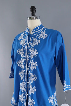Vintage Embroiderd Blouse / Ocean Blue-ThisBlueBird - Modern Vintage