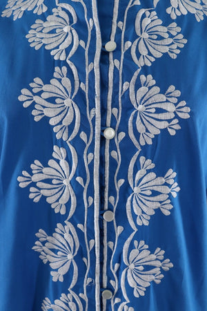 Vintage Embroidered Blouse / Ocean Blue