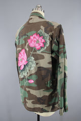 Vintage Embroidered Camouflage Jacket / US Marines Military Camo Coat / Pink LOTUS Floral Embroidery Outerwear ThisBlueBird