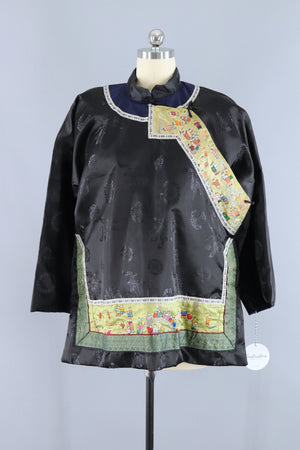 Vintage Embroidered Chinese Court Jacket / Black Satin Brocade Embroidery Outerwear ThisBlueBird