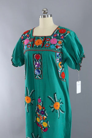 Vintage Emerald Green Mexican Embroidered Caftan Dress - ThisBlueBird