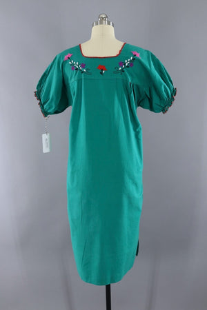 Vintage Emerald Green Mexican Embroidered Caftan Dress-ThisBlueBird - Modern Vintage