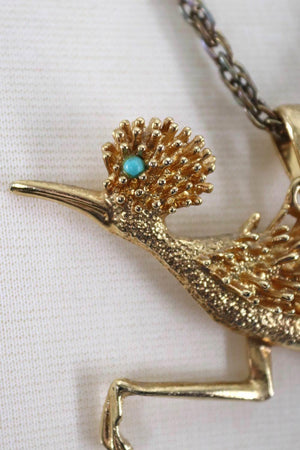 Vintage Gold Road Runner Pendant Necklace-ThisBlueBird - Modern Vintage