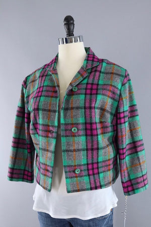 Vintage Green and Pink Plaid Wool Vest and Jacket Set-ThisBlueBird - Modern Vintage