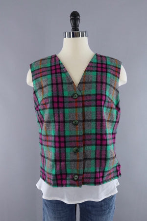 Vintage Green and Pink Plaid Wool Vest and Jacket Set - ThisBlueBird