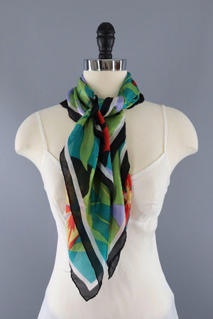 Vintage Green Parrot Scarf-ThisBlueBird - Modern Vintage