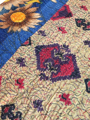 Vintage Hand Stitched Kantha Embroidery Cotton Sari Throw Blanket with Blue Sunflower Print Accessories ThisBlueBird