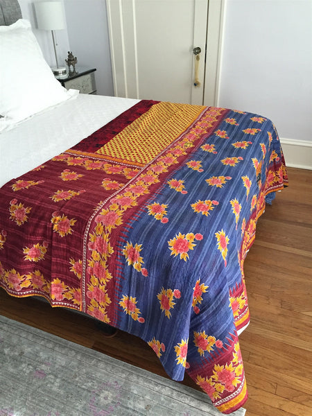 Vintage Hand Stitched Kantha Embroidery Cotton Sari Throw Blanket with Polka Dots
