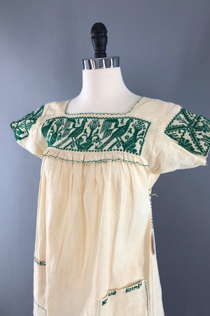 Vintage Ivory & Green Embroidered Tunic Blouse-ThisBlueBird - Modern Vintage