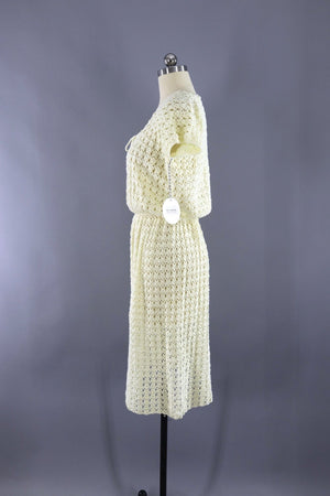 Vintage Ivory Knitted Day Dress-ThisBlueBird - Modern Vintage