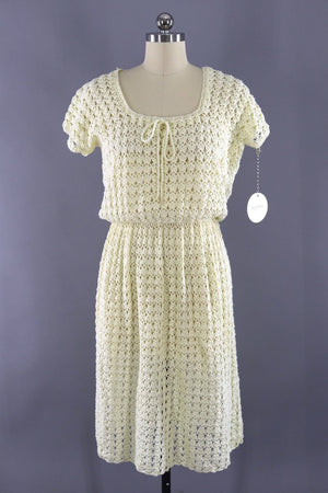 Vintage Ivory Knitted Day Dress - ThisBlueBird