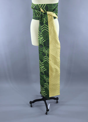 Vintage Kimono Hanhaba Obi Belt Sash / Green & Yellow Geometric Accessories ThisBlueBird