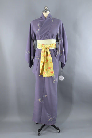 Vintage Kimono Robe / Blue Purple Abstract-ThisBlueBird - Modern Vintage
