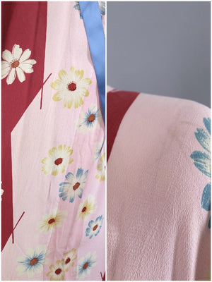 Vintage Kimono Robe / Pink and Red Floral Print-ThisBlueBird - Modern Vintage