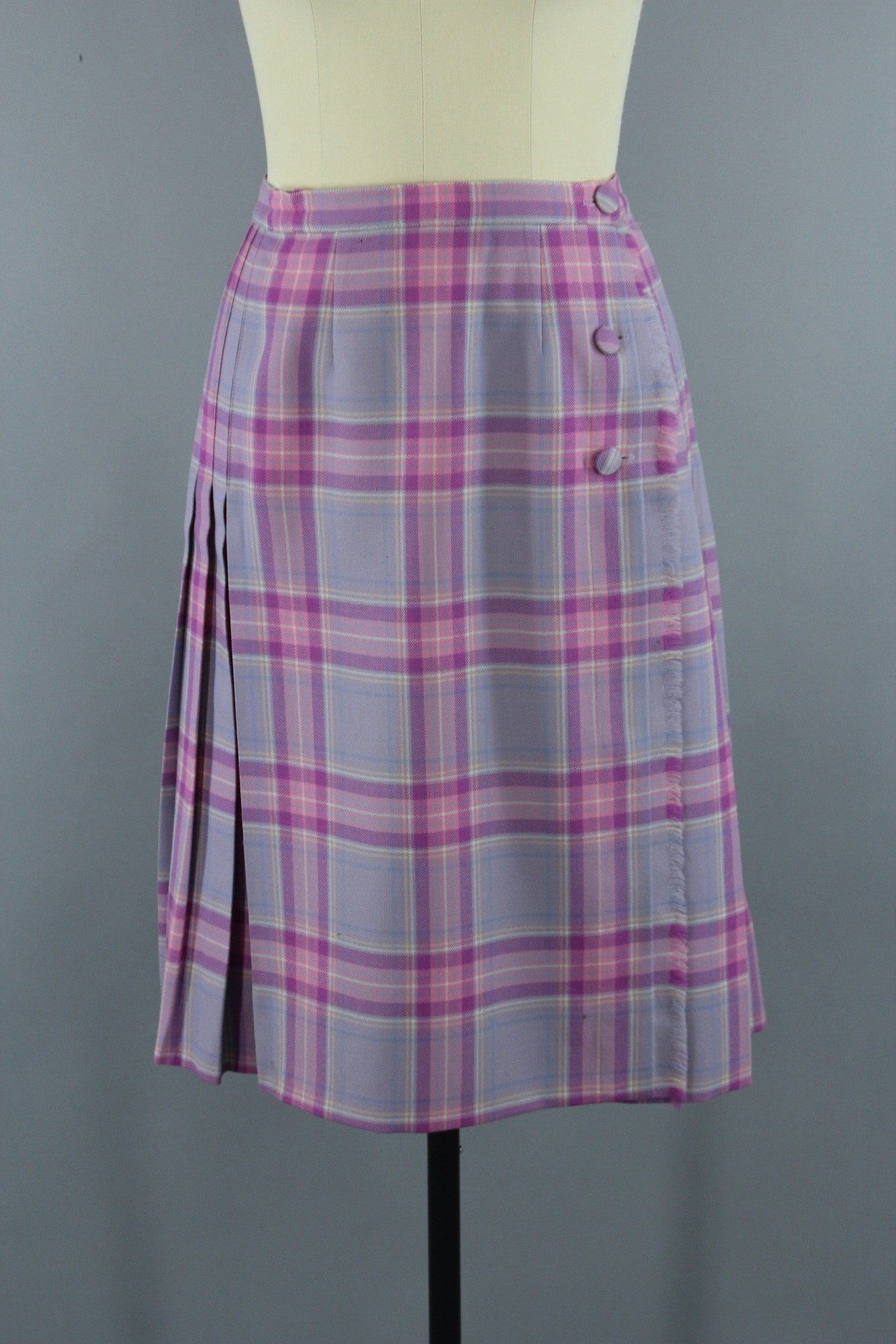Vintage Lavender Pink Plaid Wool Kilt Skirt by Surrey Classics Bottoms ThisBlueBird