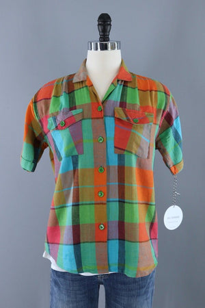 Vintage Madras Plaid Cotton Blouse-ThisBlueBird - Modern Vintage