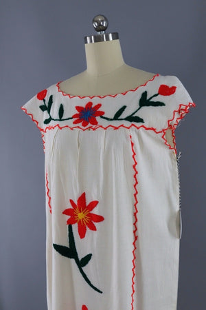 Vintage Mexican Cotton Caftan / Red Embroidered Flowers-ThisBlueBird - Modern Vintage