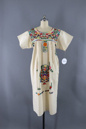 Vintage Mexican Embroidered Caftan Dress-ThisBlueBird - Modern Vintage