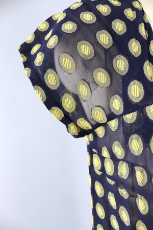 Vintage Navy Blue and Yellow Polka Dot Day Dress-ThisBlueBird - Modern Vintage