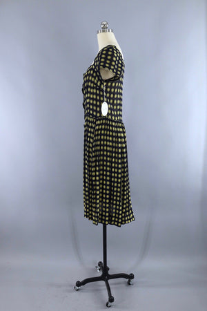 Vintage Navy Blue and Yellow Polka Dot Day Dress - ThisBlueBird