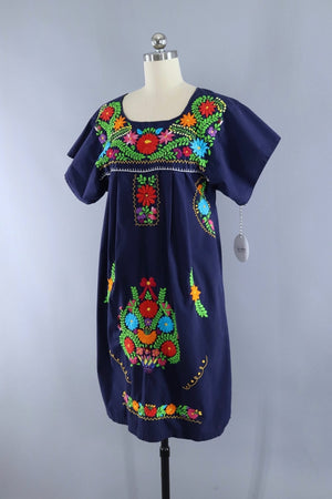 Vintage Navy Blue Embroidered Mexican Caftan Dress-ThisBlueBird - Modern Vintage