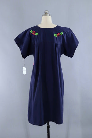 Vintage Navy Blue Embroidered Mexican Caftan Dress - ThisBlueBird