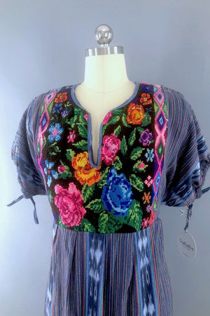 Vintage Needlepoint Embroidered Cotton Dress-ThisBlueBird - Modern Vintage
