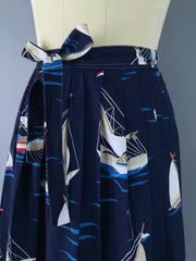 Vintage Novelty Print Skirt / Nautical Sailboats Bottoms ThisBlueBird