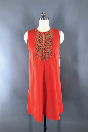 Vintage Orange Embroidered Nightgown-ThisBlueBird