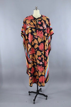 Vintage Orange Floral Print Cotton Caftan Dress Dress ThisBlueBird