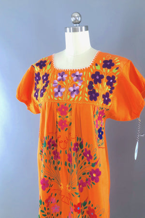 Vintage Orange Mexican Embroidered Caftan Dress-ThisBlueBird - Modern Vintage