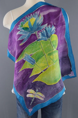 Vintage Painted Water Lily Silk Scarf-ThisBlueBird - Modern Vintage