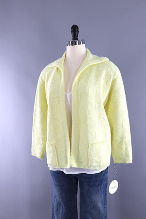 Vintage Pastel Yellow Knitted Cardigan Sweater - ThisBlueBird