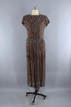 Vintage Pauline Trigere Glittered Formal Gown / Mocha Brown, Silver and Copper Glitter - ThisBlueBird