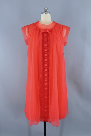 Vintage Peignoir Nightie and Robe Set / Tomato Red Chiffon-ThisBlueBird - Modern Vintage