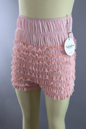 Vintage Pink Lace Ruffled Square Dance Shorts Bloomers - ThisBlueBird