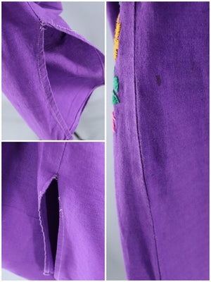 Vintage Purple Embroidered Mexican Dress-ThisBlueBird - Modern Vintage