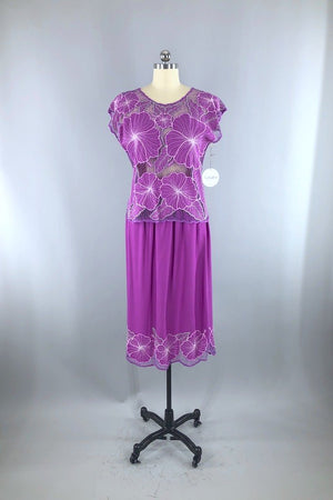 Vintage Purple Hawaiian Lace Top & Skirt Set-ThisBlueBird - Modern Vintage