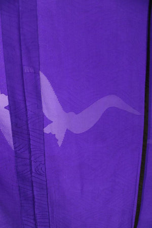 Vintage Purple Silk Kimono with Sheer Bird Pattern-ThisBlueBird - Modern Vintage