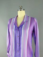 Vintage Purple Striped Blouse / Lady Holiday Tops ThisBlueBird - Sale