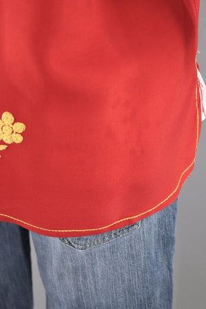 Vintage Red Embroidered Tunic-ThisBlueBird - Modern Vintage