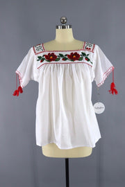 Vintage Red Floral Cross Stitch Peasant Blouse Tops ThisBlueBird