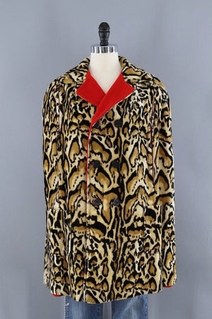 Vintage Red Leopard Print Reversible Cape-ThisBlueBird - Modern Vintage