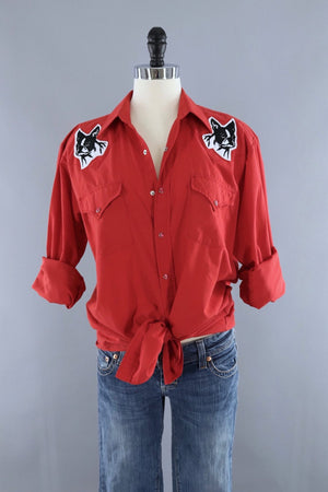 Vintage Red Western Shirt with Embroidered Boston Terrier Patches - ThisBlueBird