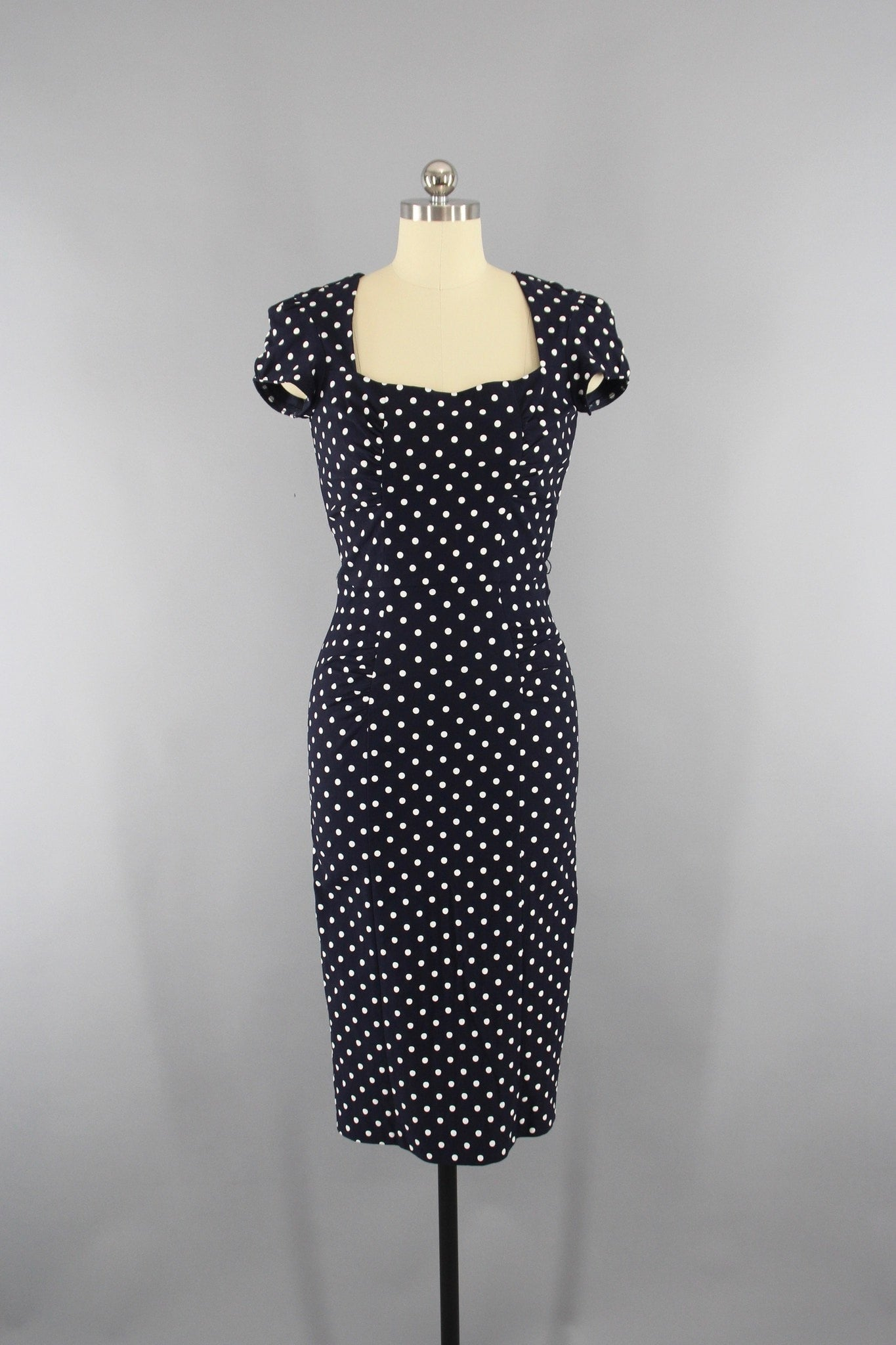 "Vintage Retro Rockabilly Style ""CELEBRITY"" Dress by Stop Staring in Navy Blue with White Polka Dots Dress Stop Staring"